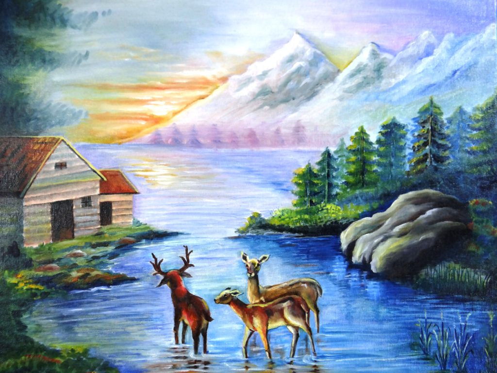 DEER IN RIVER_OIL COLOUR_18.01.14
