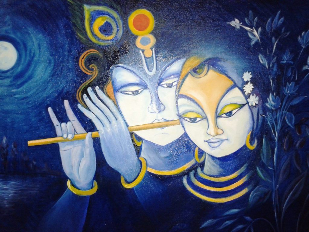 KRISHNA WITH RADHA_OIL COLOUR_19.01.2013